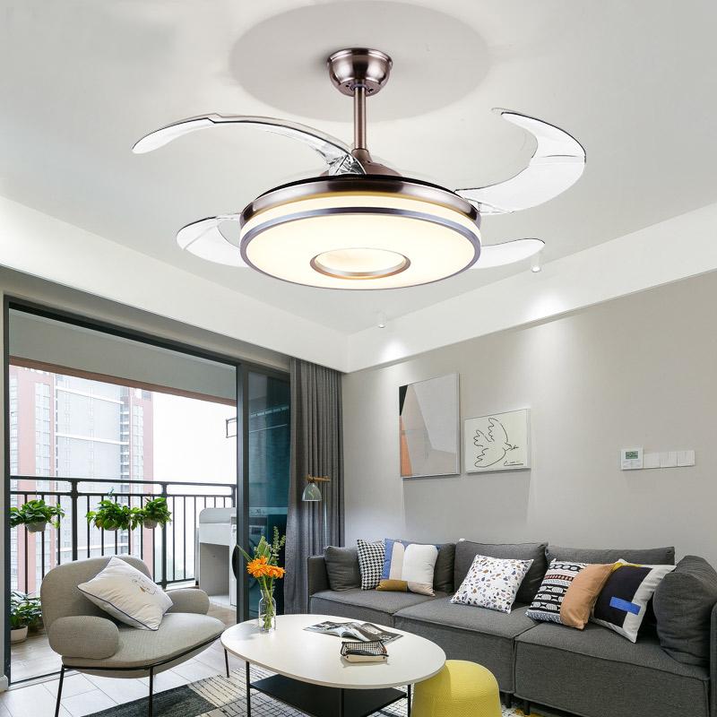 隐形风扇灯吊扇家用客厅餐厅卧室吸顶蓝牙音响带电扇吊灯一体变频