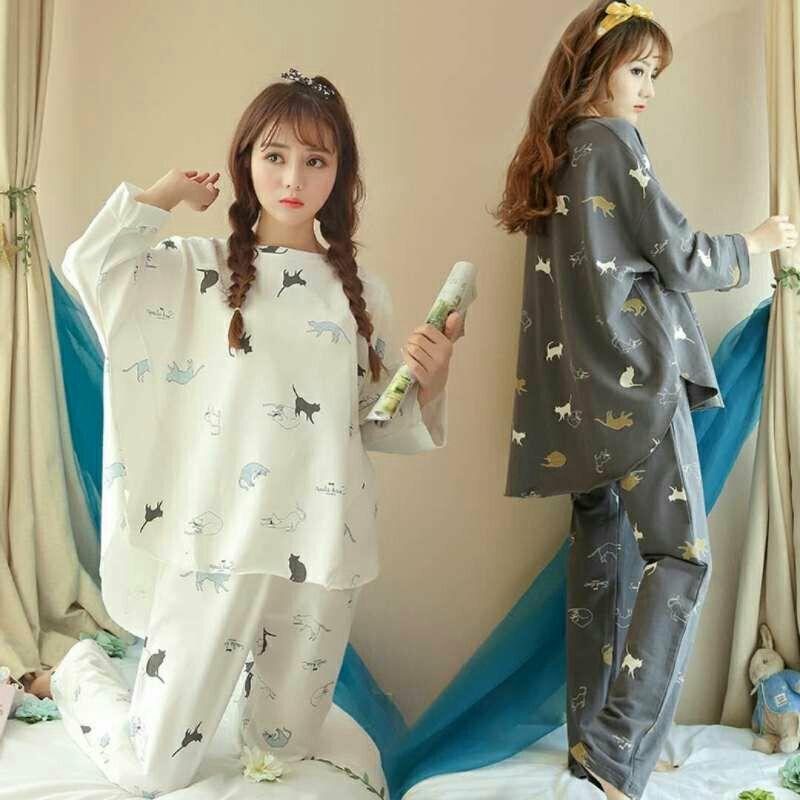 长袖睡衣女春秋加大码睡衣女夏新款卡通女士休闲套装可外穿家居服