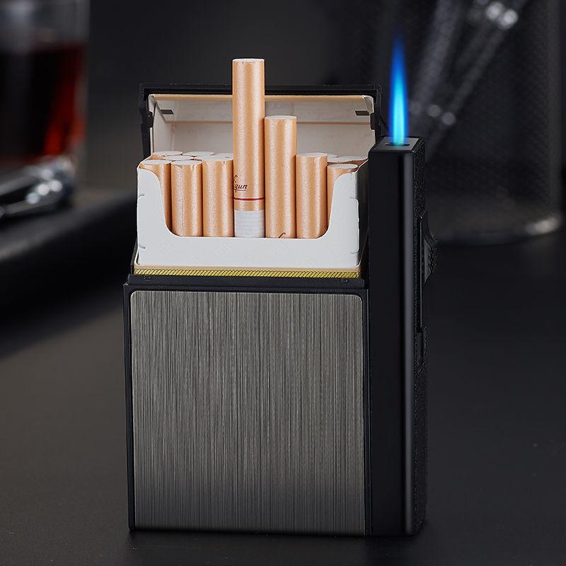 20支烟盒打火机创意一体抗压防潮直冲防风充电充气男士香烟盒