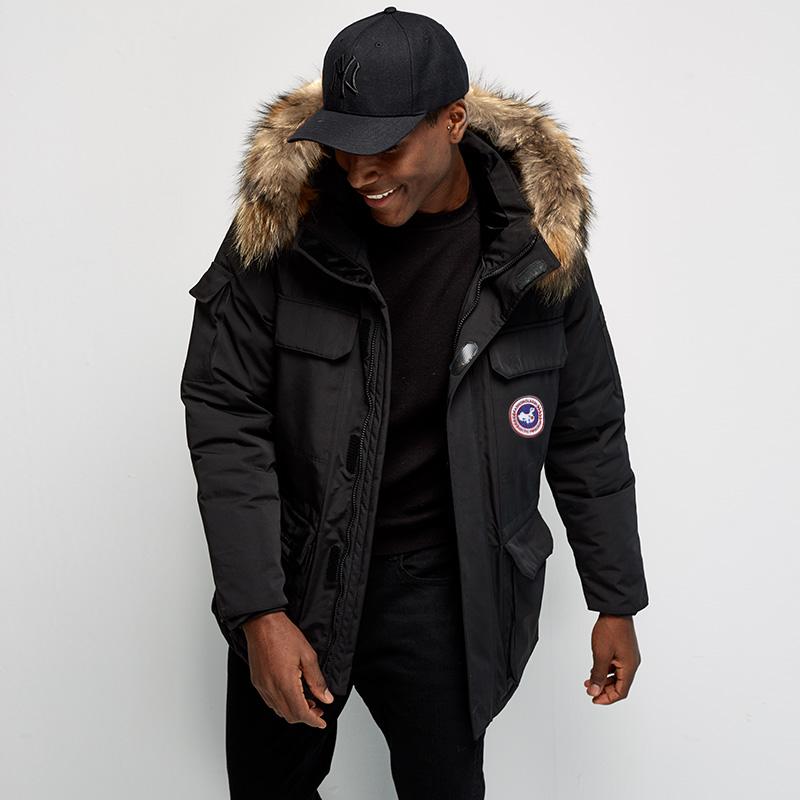 2020新款冬季情侣羽绒服中长款帅气加拿大风户外工装加厚大鹅外套