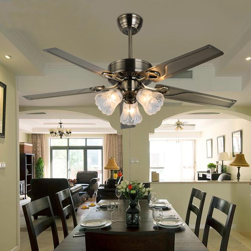 装饰风扇灯 家用吊扇灯餐厅卧室客厅电扇灯欧式复古静音吊灯