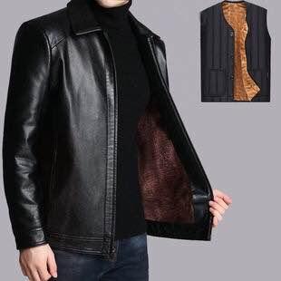 皮衣男 外套加厚皮衣爸爸装皮夹克大码皮衣优质皮衣夹克爆皮包退