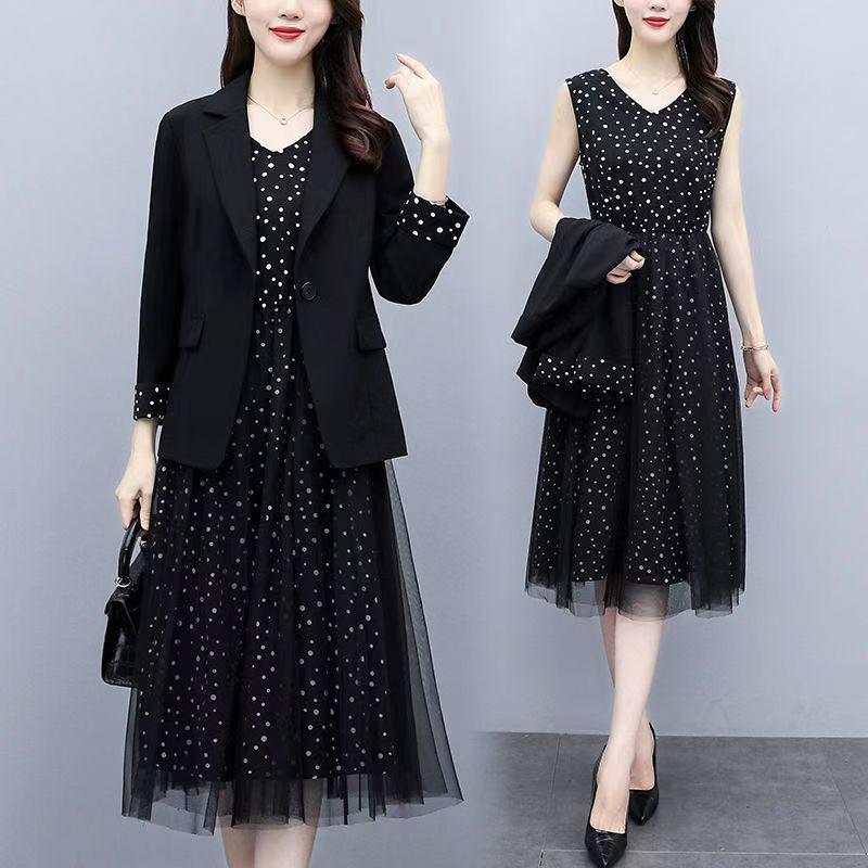 趟狐2021夏套装显瘦黑色西装外套女韩版宽松网纱连衣裙两件女情侣
