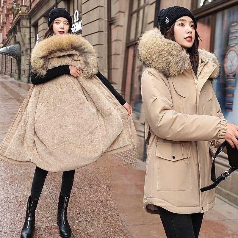 2020新款羽绒棉服衣女短款连帽毛领收腰带加厚大毛领原宿学生棉服