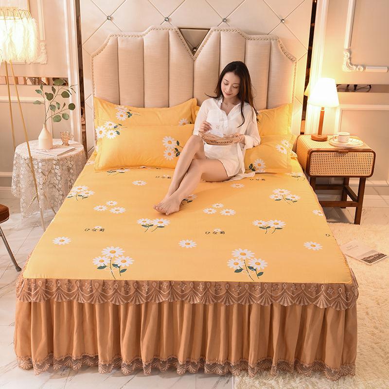 床裙三件套枕套单人双人床罩床套防滑保护套防滑床裙床笠床单席梦