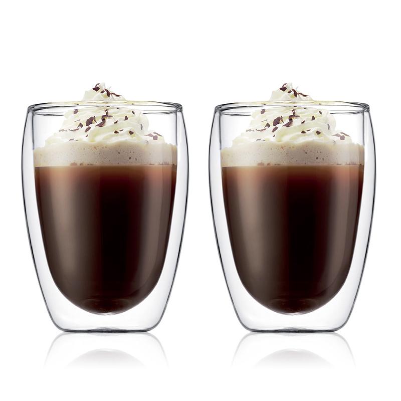 bodum波顿 双层隔热玻璃杯家用办公 鸡尾酒可乐啤酒咖啡杯2只装