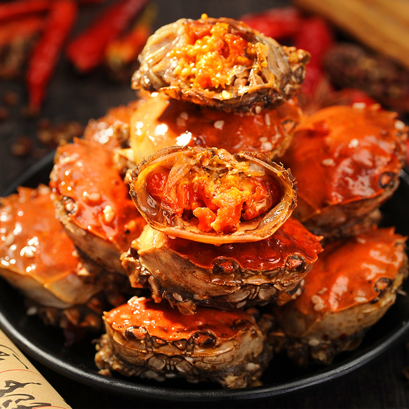 谁与争鲜!公母香辣蟹即食罐装熟食小吃小零食麻辣海鲜小螃蟹醉蟹