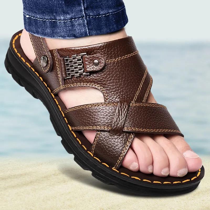 头层牛皮按摩底凉鞋男真皮夏季男士凉拖鞋男休闲沙滩鞋男装