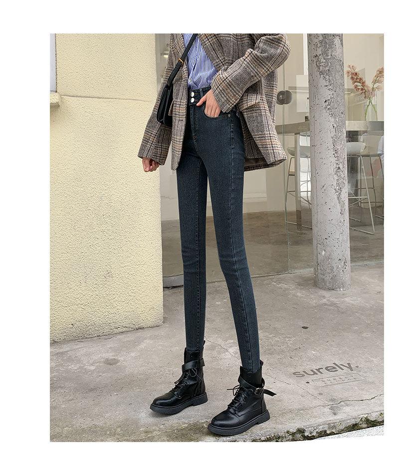 2020年新款高腰显瘦黑色修身紧身秋冬加厚加绒小脚长裤牛仔裤女男