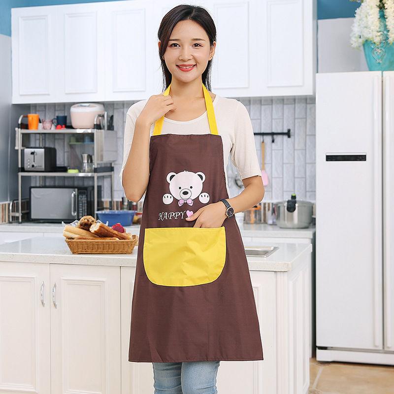 可擦手围裙女防水防油家用厨房上班工作网红耐脏时尚新款做饭罩衣