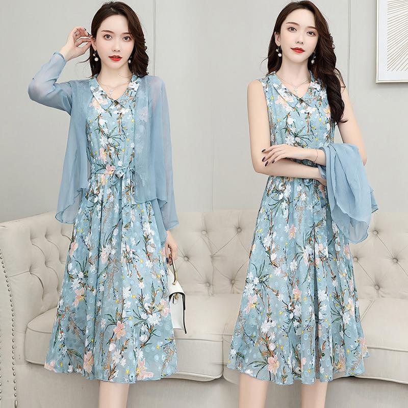 两件套雪纺连衣裙女遮肚韩版夏季女装2021潮长裙套装裙子情侣