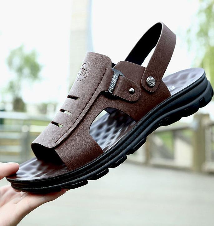 【全牛皮】2021新款夏季男士凉鞋真皮休闲拖鞋凉拖两用沙滩鞋