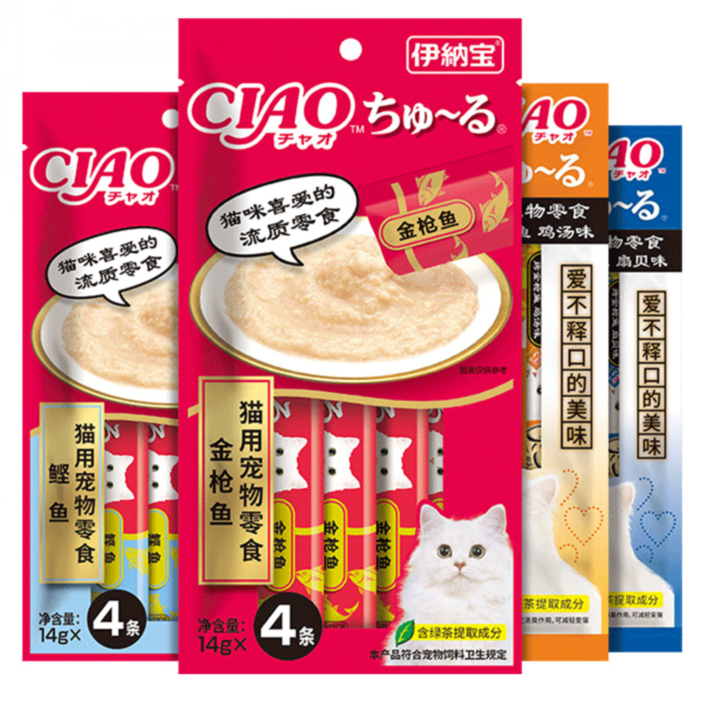 伊纳宝猫条啾噜ciao零食营养增肥猫罐头猫咪100妙好鲜包整箱60支
