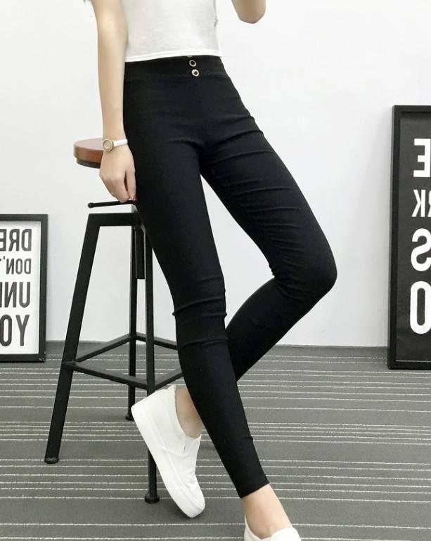 韩版打底裤女裤春秋季薄款外穿学生小脚高腰紧身黑色大码铅笔长裤