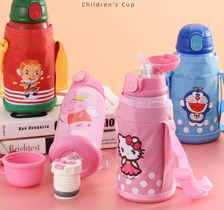 儿童保温杯男女学生水杯带吸管杯套两用水壶防摔幼儿园卡通水杯子