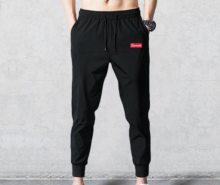 夏季男士冰丝薄款休闲长裤子宽松大码运动裤弹力束脚裤男透气卫裤