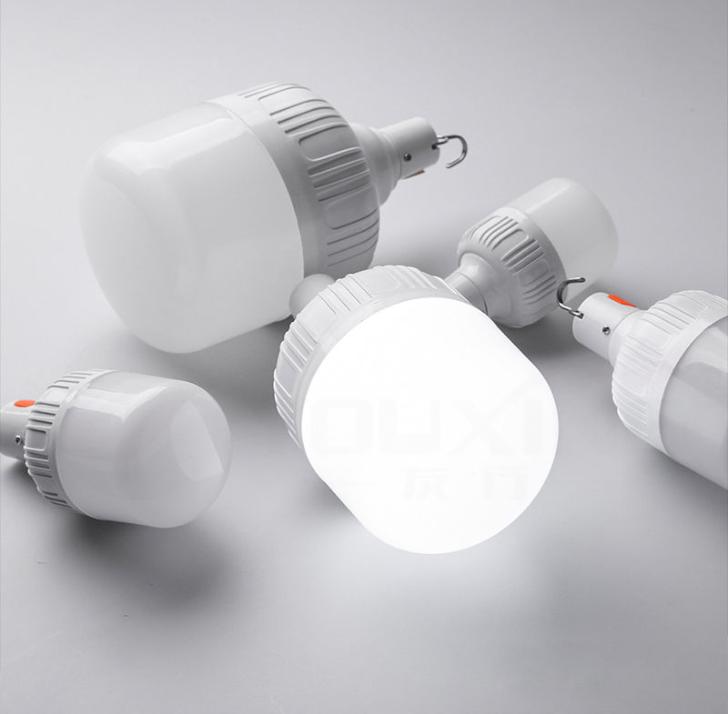 LED手机充电灯泡USB充电遥控灯电量显示防水超亮家用摆摊帐篷灯