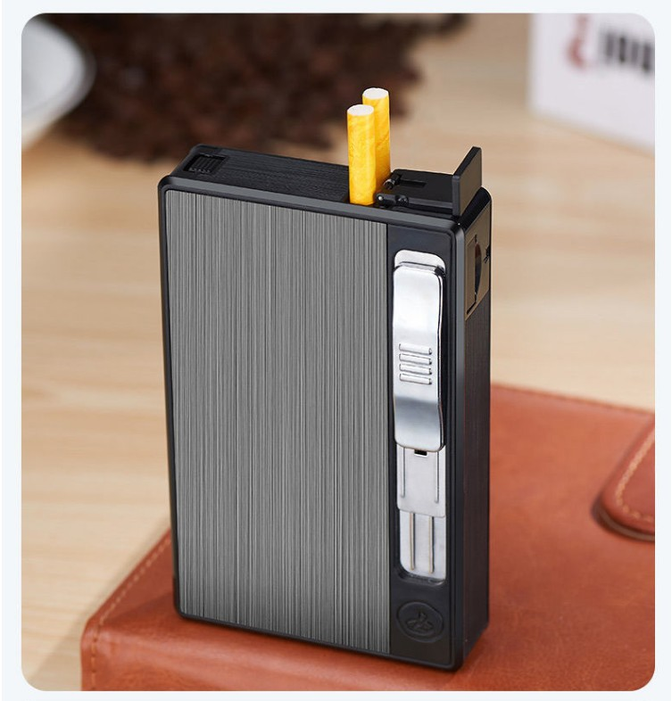 细支20支装烟盒打火机一体充电充气自动弹烟便携香菸盒男女士礼物