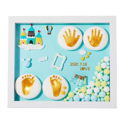 澳乐宝宝满月手足印泥相框胎毛纪念品新生的婴儿脚印手印百天礼物