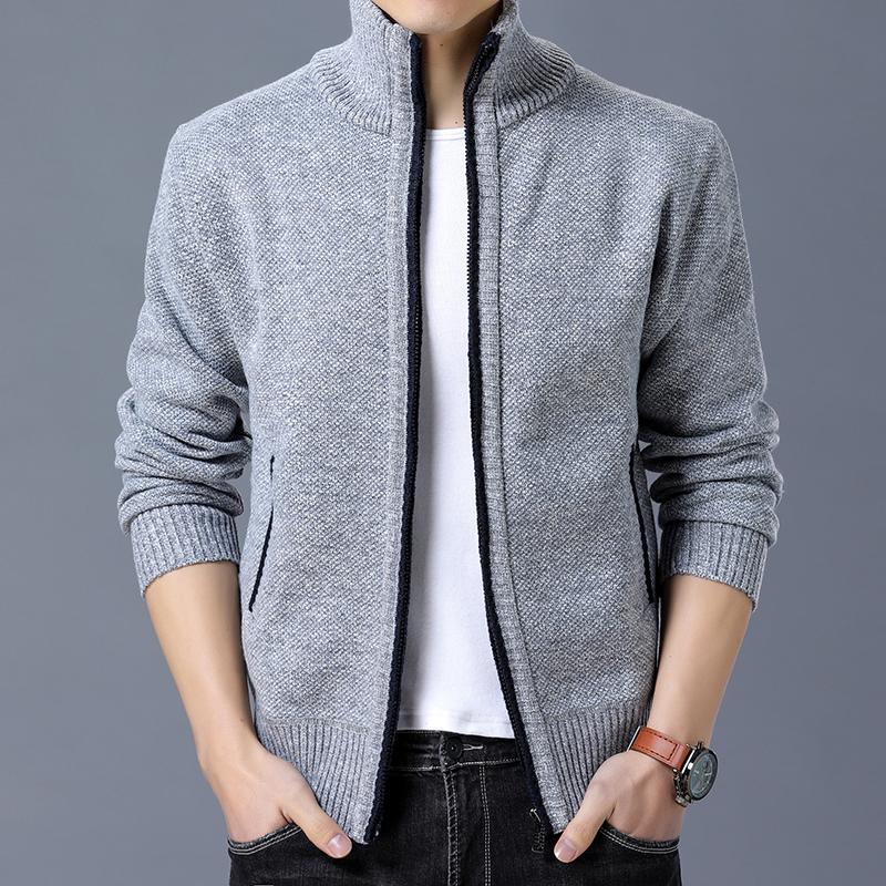 百搭男士修身开衫外套纯色羊毛衫秋冬新款立领加绒加厚夹克针织衫