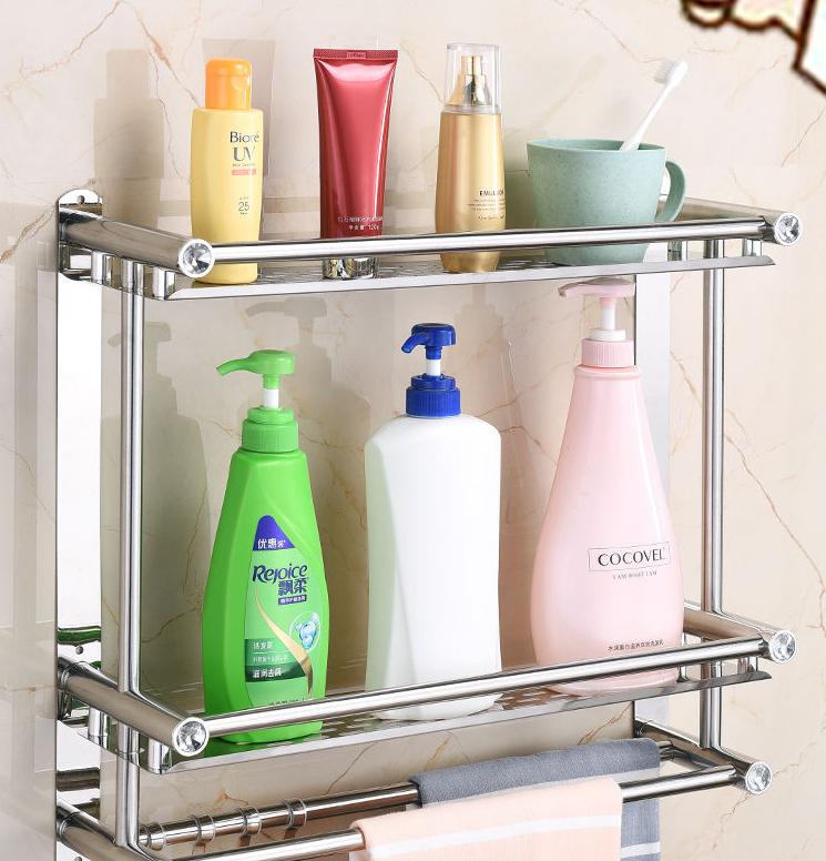 加厚免打孔毛巾架不锈钢厕所浴室卫生间置物架双层浴巾架壁挂卫浴