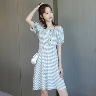 夏姬娜2020新款韩版夏季小清新格子连衣裙女高腰显瘦泡泡袖A字裙