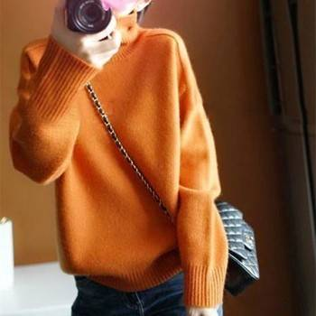 【爆款清仓】橘色毛衣女高领保暖套头毛衣宽松慵懒针织打底衫