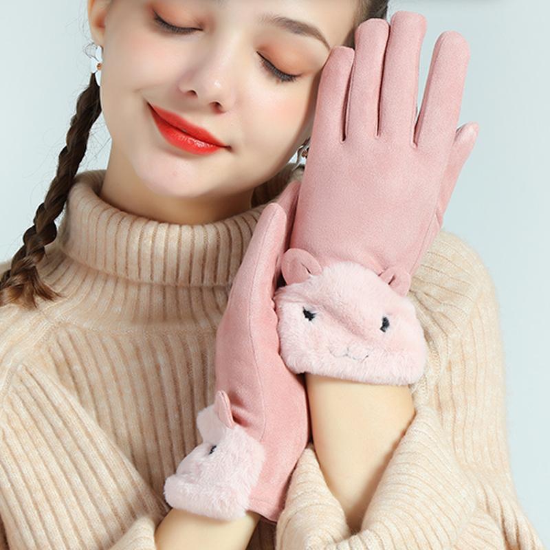 手套男女士秋冬触屏加绒加厚保暖麂皮绒可爱学生骑车开车防寒防风