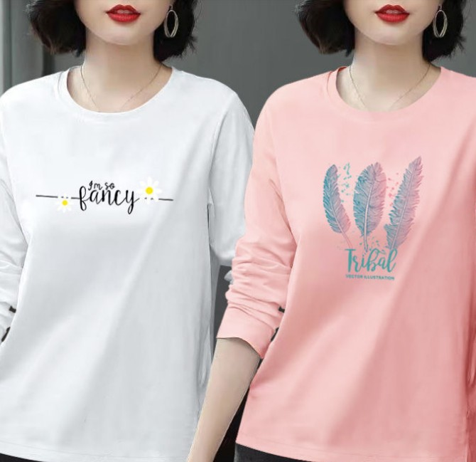 单件/两件纯棉长袖t恤女2020秋季新款大码女装韩版宽松上衣打底衫