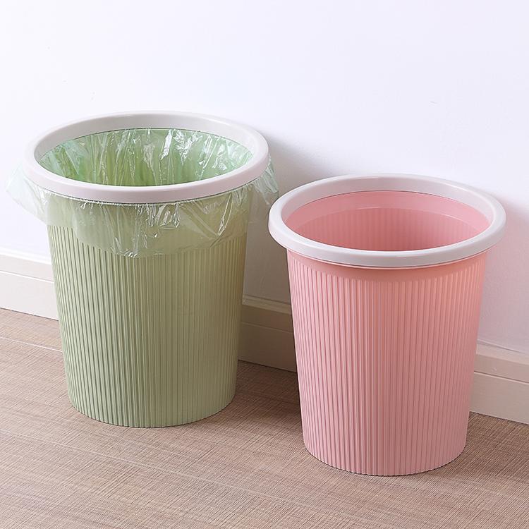 垃圾桶圆形条纹家用客厅办公室厨房卫生间创意无盖带压圈大小号