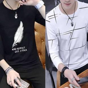 长袖t恤男装春秋韩版時尚两件装卫衣男