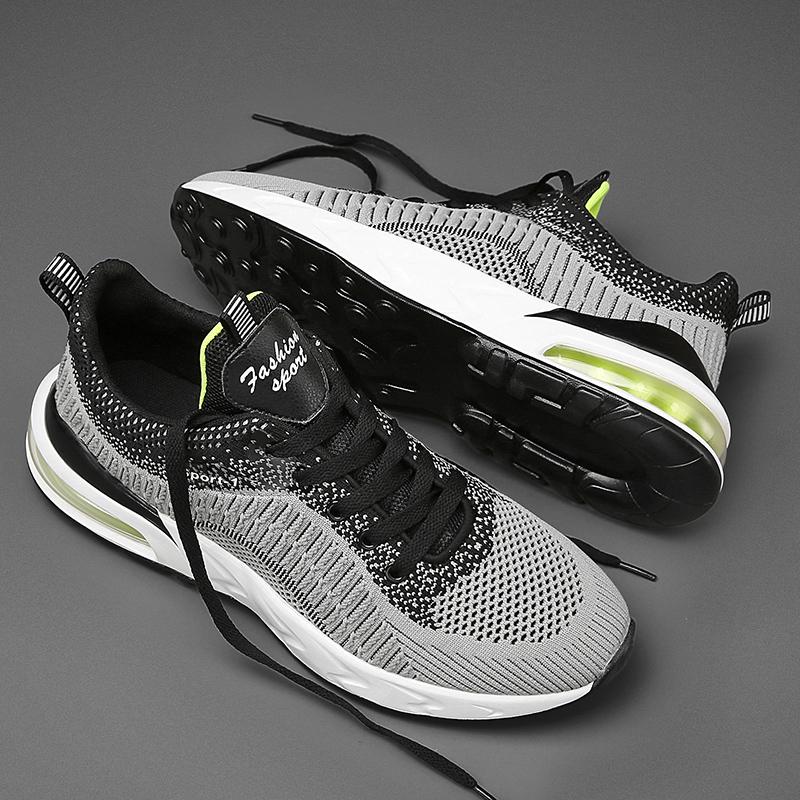2021年新款夏季运动休闲跑步男士气垫透气飞织潮鞋防臭工作单鞋子