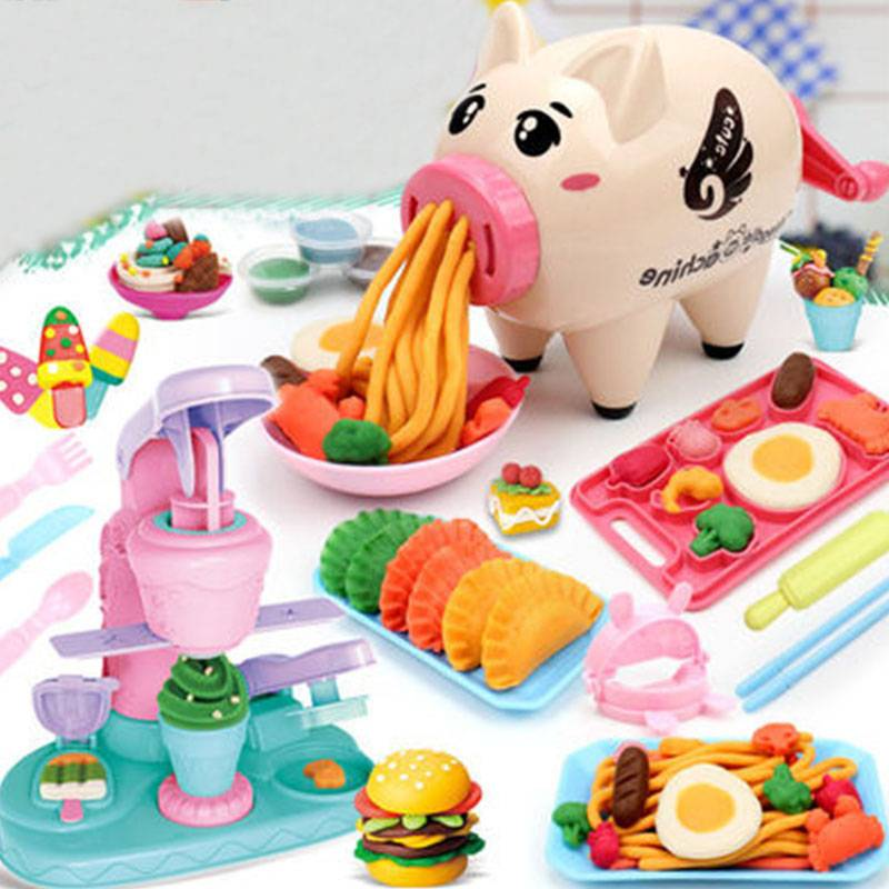 超萌小猪面条机安全橡皮泥彩泥冰淇淋机模具儿童套装女孩玩具粘土