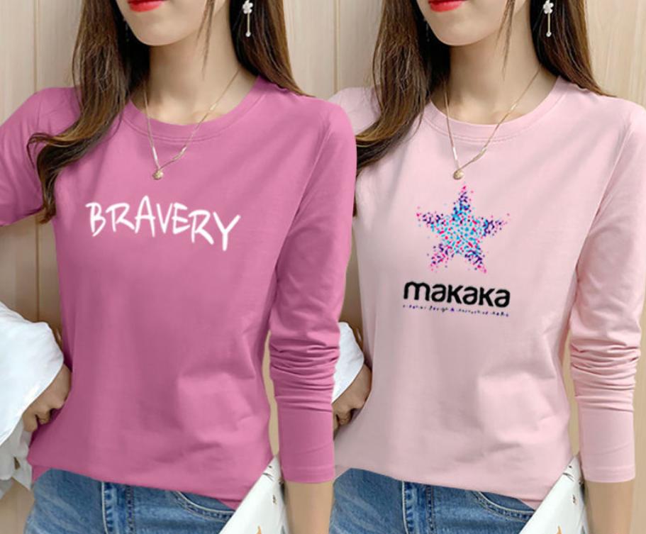 【买一送一】100%纯棉长袖t恤女2020秋季新款大码宽松上衣打底衫