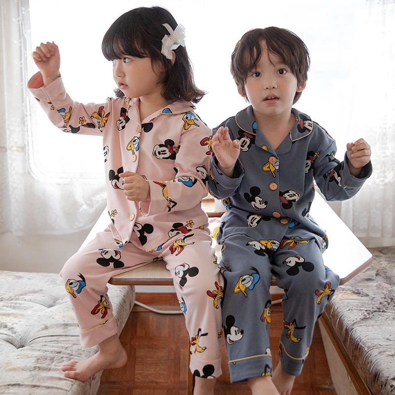 儿童睡衣女春秋薄款纯棉男童家居服套装长袖中大童秋款小男孩亲子