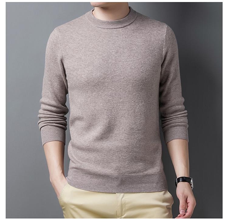 秋冬季加厚大牌正品2020新款长袖中年男士圆领套头针织纯色毛衣