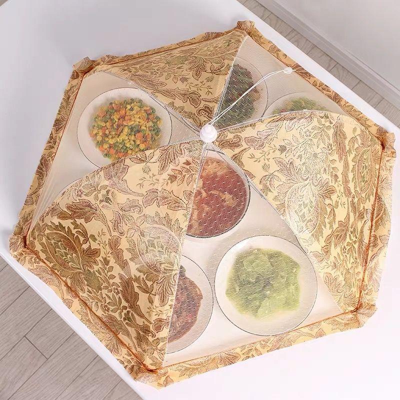 桌盖菜罩家用防尘餐桌饭菜台罩碗菜网罩子折叠可拆洗防蚊遮饭罩伞