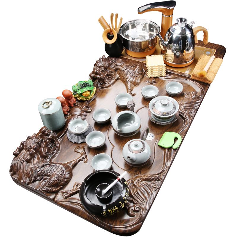 功夫茶具套装陶瓷茶杯全自动一体泡茶小茶台实木茶盘家用简约客厅