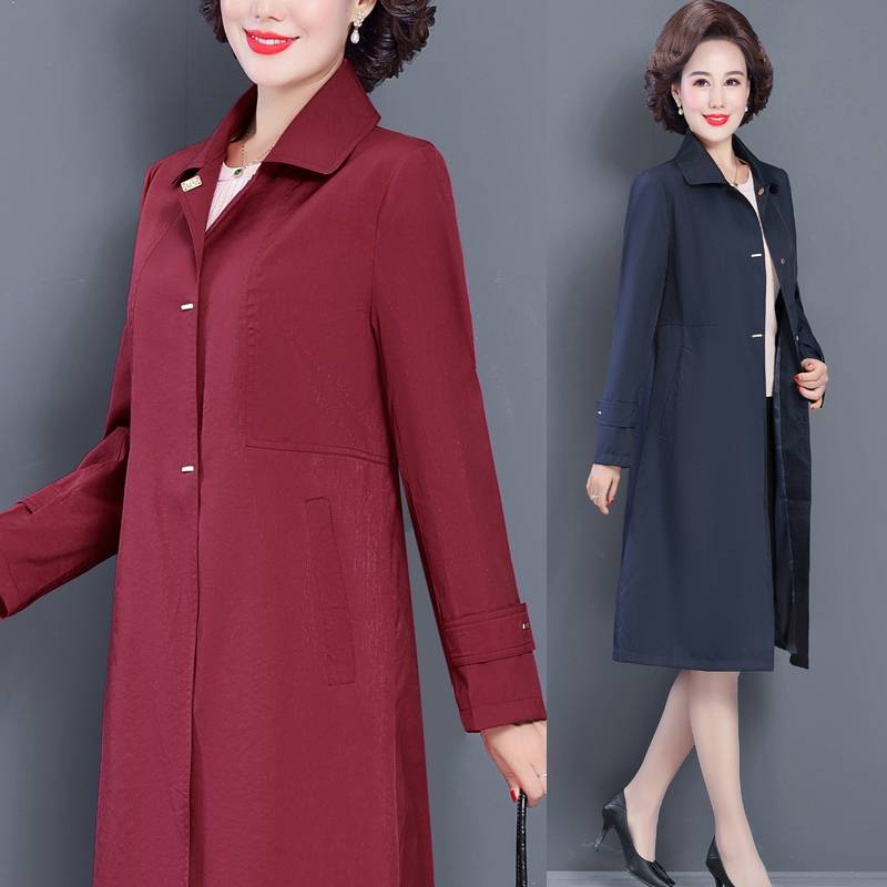 2020新款风衣外套女秋韩版高腰过膝加肥大码显瘦气质中老年妈妈装