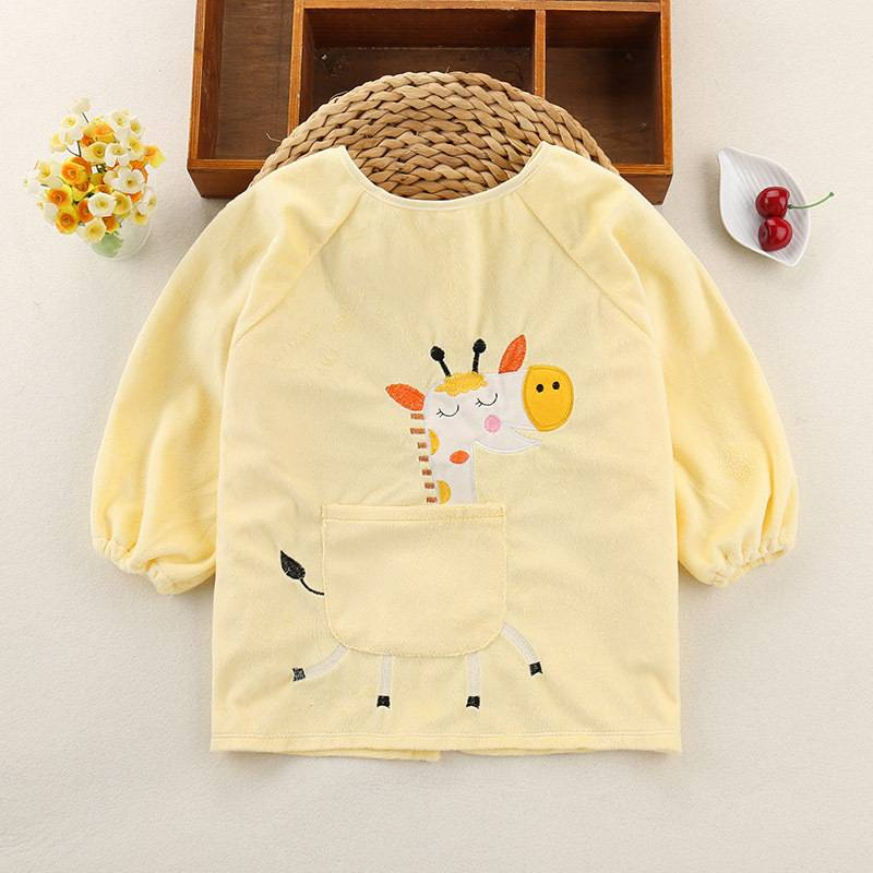 儿童罩衣宝宝防水防脏反穿衣婴儿围裙围兜灯芯绒吃饭护衣长袖秋冬