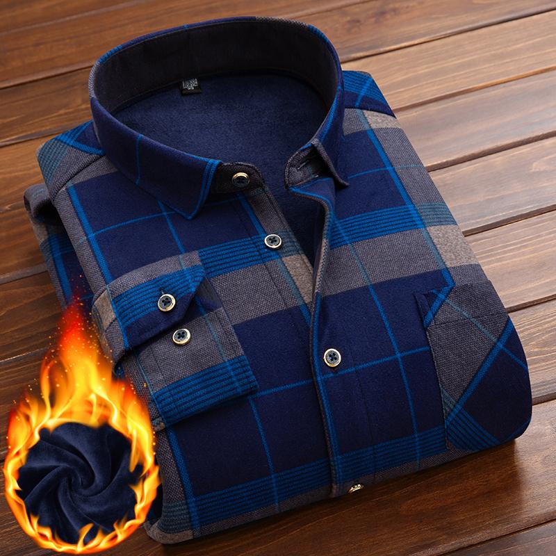 男士长袖衬衫秋冬季韩版潮流宽松加绒加厚保暖衬衣服男装格子商务