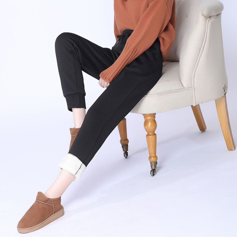 加绒加厚新款休闲裤羊羔绒运动裤女长裤小脚裤束脚加绒加厚卫裤