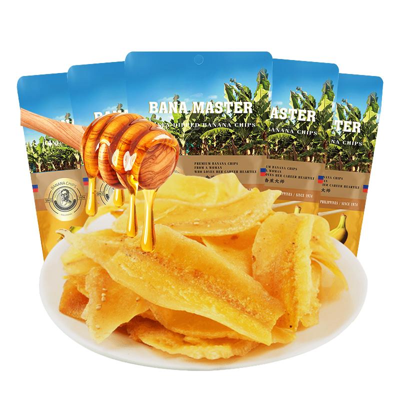 菲律宾龙纪龙品香蕉大师香蕉片蜂蜜味6网红零食蜜饯水果干60g/袋
