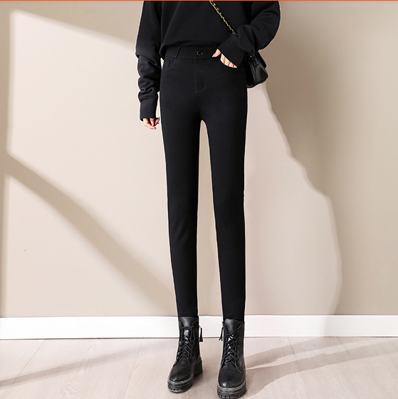黑色牛仔裤女2021年新款春秋高腰显瘦修身紧身铅笔裤九分小脚裤子