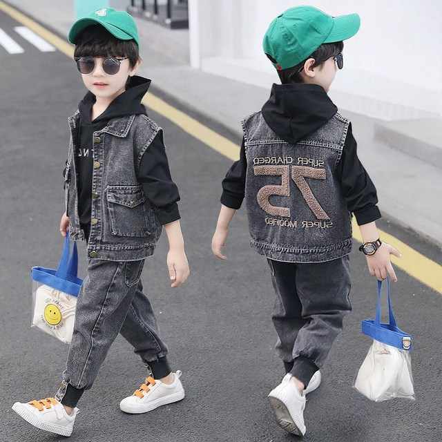 三件套童装男童秋装套装新款小男孩中大童儿童牛仔春秋洋气运动
