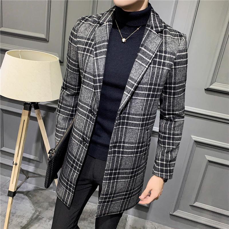 秋冬季羊毛呢大衣男短款韩版潮流花格妮子中长款呢子外套男士风衣