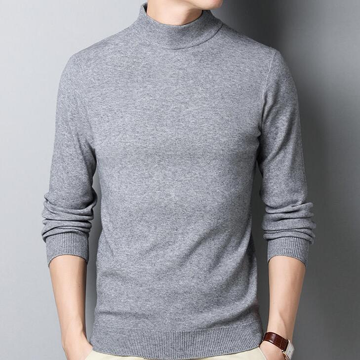 2020羊毛衫男装半高领套头长袖T恤针织打底衫男士圆领加厚体恤