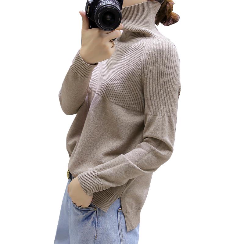 【反季爆款清仓】女宽松慵懒高领大码纯色短款毛衣打底衫【剩69件