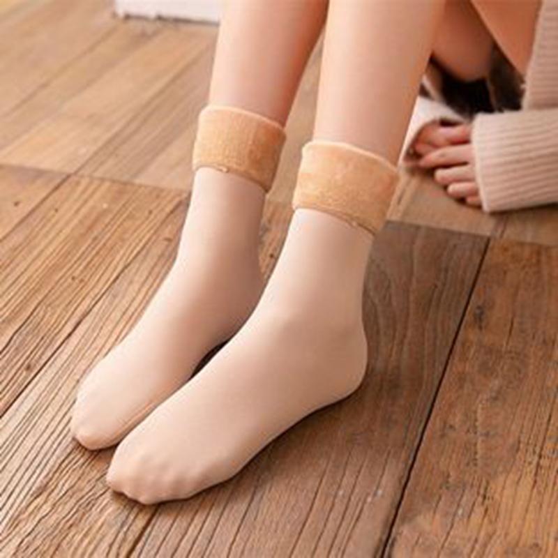 加绒加厚保暖男女可穿短中高筒丝袜冬季雪地袜黑肤色肉色光腿神器