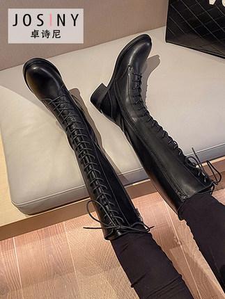 卓诗尼2020新款冬靴网红高筒绑带骑士靴百搭帅气机车风潮长靴女鞋